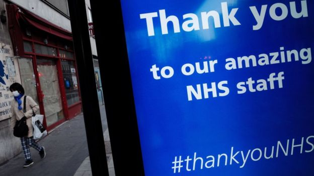 Thank you sign to NHS