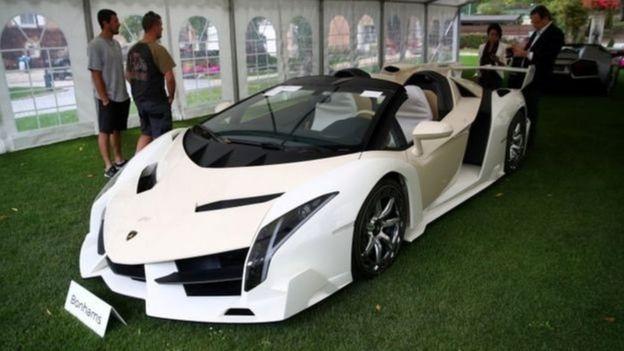 Une Lamborghini faisant partie de la collection de voitures de luxe appartenant à Teodorin Nguema Obiang.