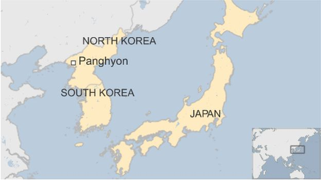 Map showing North Korea, South Korea and Japan