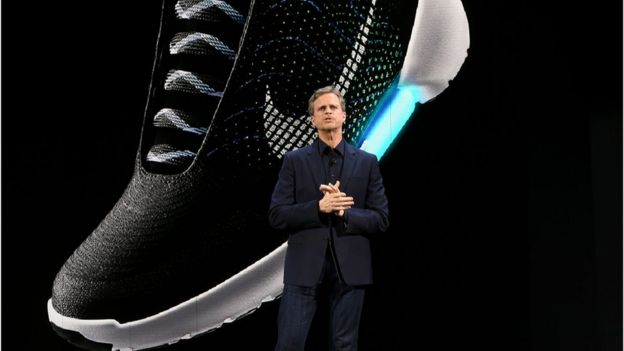 A Nike sports boot is pictured during an event to unveil their latest innovative sports products in New York on March 16, 2016.