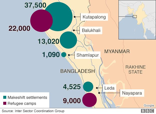 Map: Displaced people and refugees in Bangladesh