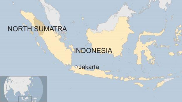 Peta yang menunjukkan Indonesia dan Sumatera Utara