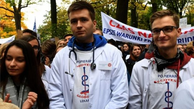Doctors protest in Warsaw, Poland