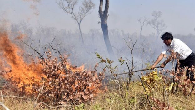 Evo Morales apagando un fuego