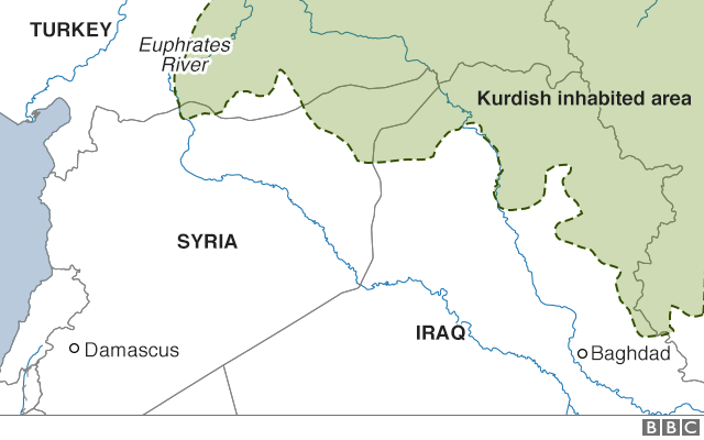 Map showing Kurdish inhabited areas in Syria, Iraq, Turkey and Iran