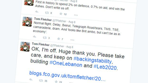 Screengrab of Fletcher's Twitter feed