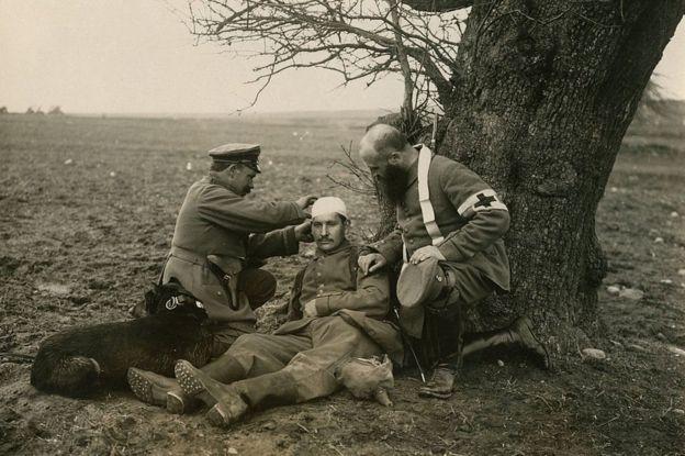 Herido en la Primera Guerra Mundial.