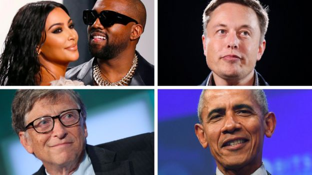 Kim Kardashian West, Kanye West, Elon Musk, Bill Gates and Barack Obama