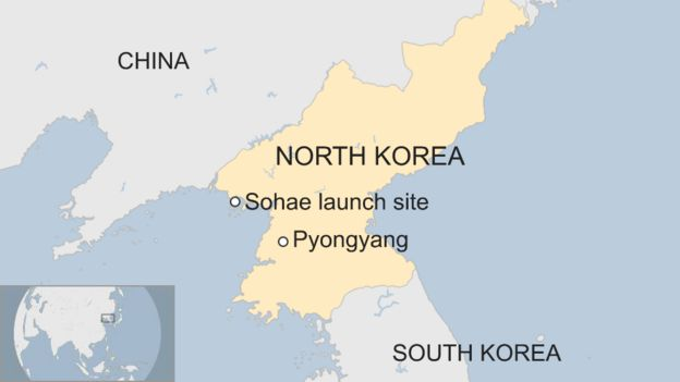 Map of North Korea and Sohae site