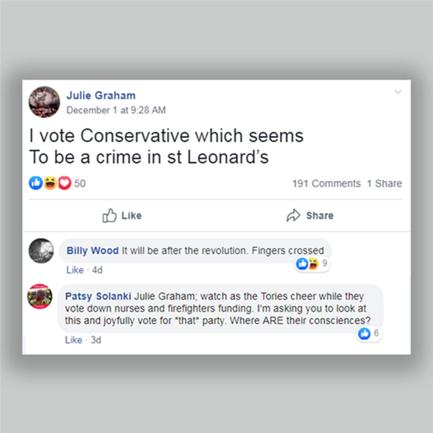 "Post from Julie Graham ""I vote conservative which seems to be a crime in st leonards"" followed by a response from Patsy which begins: ""hostile messages aren't going to help you think beyond"" and criticises the Conservative stance on the NHS and fire service."