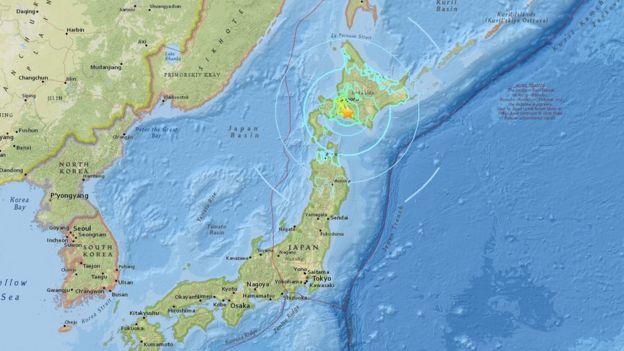 Un mapa con la indicación del epicentro del sismo