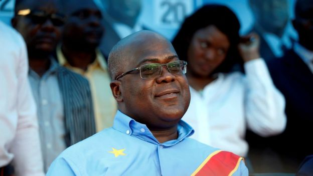 Felix Tshisekedi at an election event in Kinshasa, December 2018