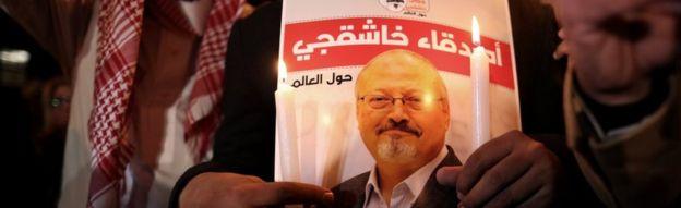 Protesto pela morte de Khashoggi, em 2018