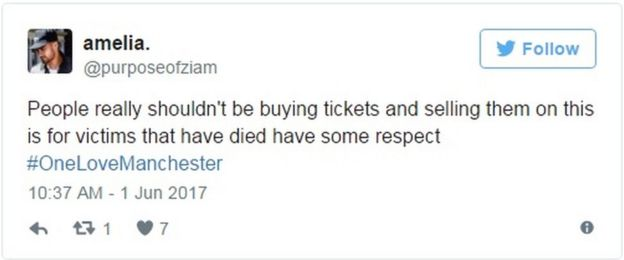 Tweet: People really shouldn't be buying tickets and selling them on this is for victims that have died have some respect #OneLoveManchester