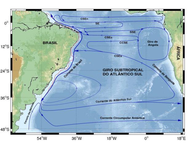 Mapa de correntes marítimas do Atlântico Sul entre Brasil e África