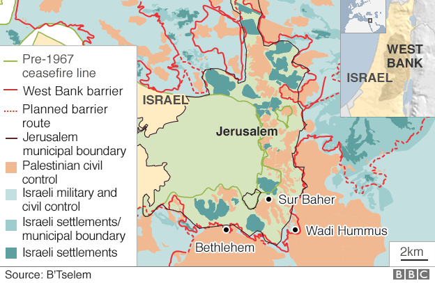 Map of Jerusalem and the West Bank, showing location of Sur Baher and Wadi Hummus