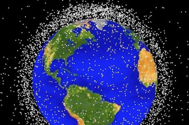 Imagem da NASA mostrando satélites em órbita da Terra