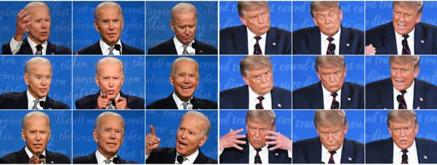 A composite image showing Joe Biden and Donald Trump during the first presidential debate - 29 September 2020