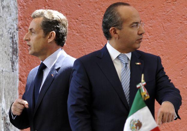 Nicolas Sarkozy y Felipe Calderón