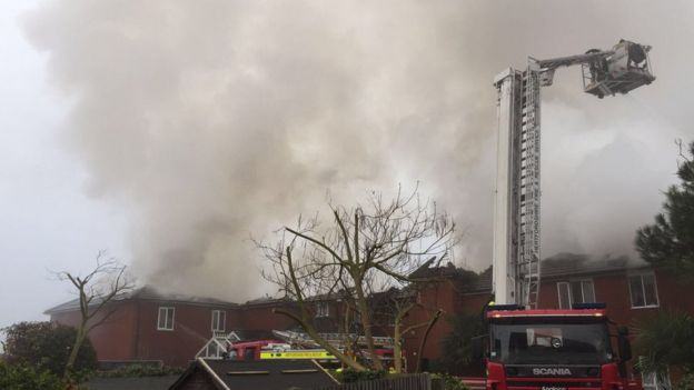 Firefighters tackling blaze at care home on Cadmore Lane, Cheshunt.