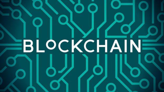ilustração com a palavra blockchain