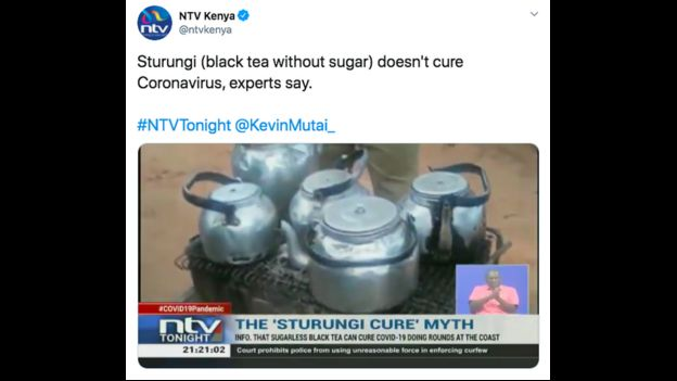 Twitter image from Kenyan TV, debunking tea drinking cure for Covid-19
