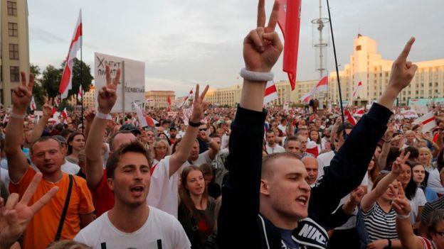 Manifestación en Minsk el 18 de agosto.