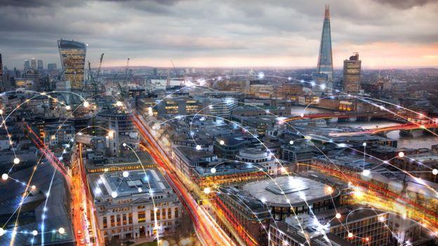 Londres con líneas de conexión