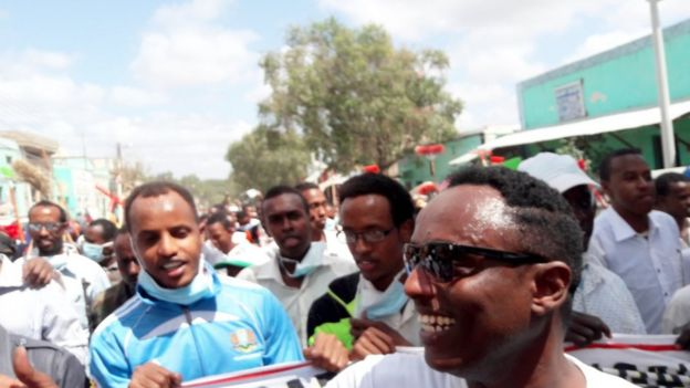 Thousands took part on the last day of the peace march when it reached Mogadishu