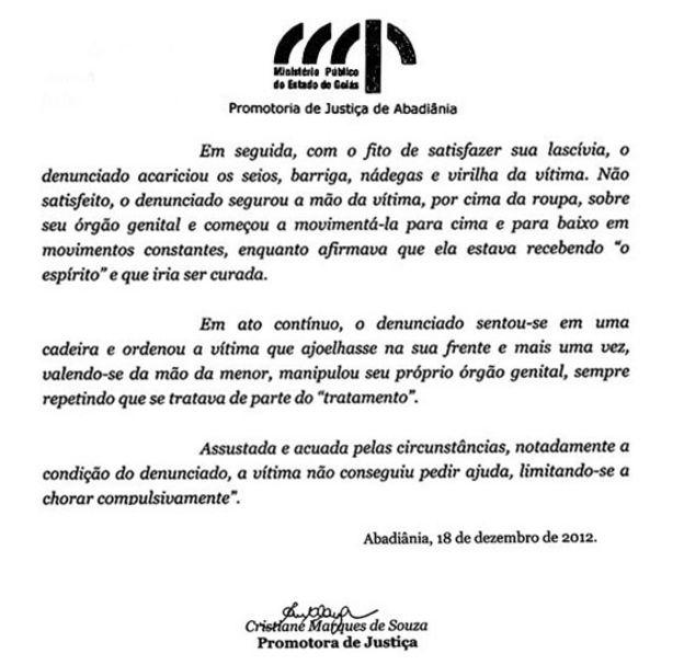 Reprodução de trecho do recurso do Ministério Público de Goiás, de 2012, contra a absolvição de João de Deus em primeira instância, em um caso de abuso sexual de uma menor, ocorrido em 2008