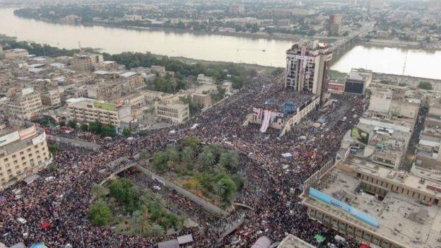 مرکز اعتراضها در بغداد، میدان تحریر است
