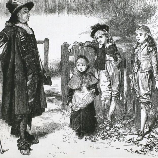 این تصویر کندهکاریشده، پیوریتنی را نشان میدهد که بچهها را برای عمل بتپرستانهٔ جمع کردن برگ درخت راج تنبیه میکند