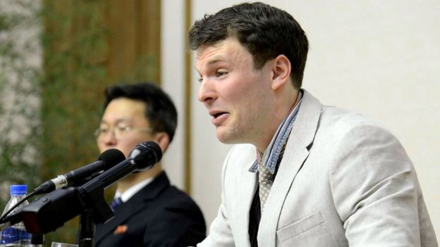 US student Otto Frederick Warmbier speaks tearfully at a press conference in Pyongyang