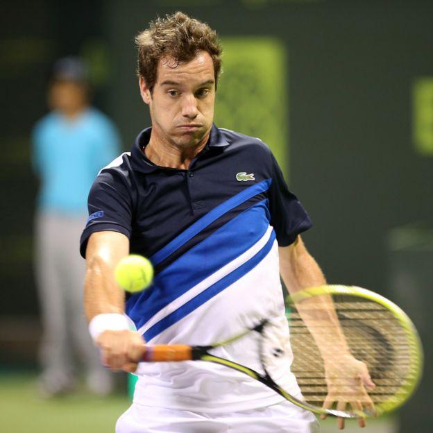 Richard Gasquet playing Karim Hossam at the Qatar Open
