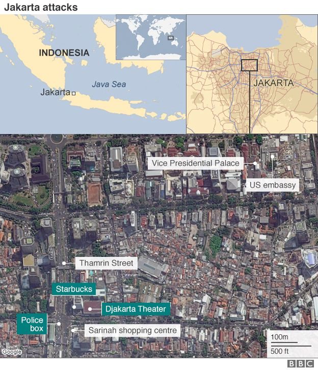 Jakarta attacks bombs and gunfire rock indonesian capital bbc news a map showing the location of attack sites in indonesia gumiabroncs Image collections