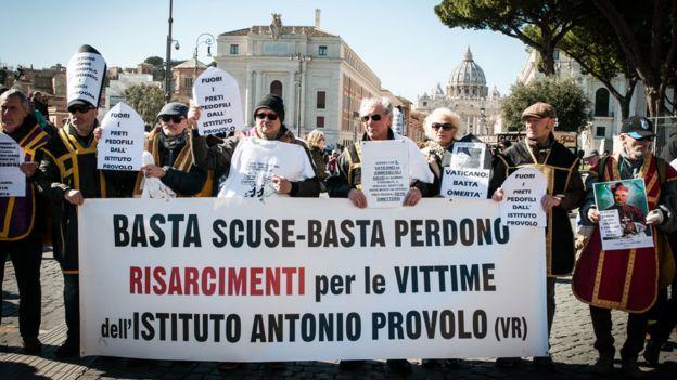 Una marcha de las víctima del Instituto Provolo de Verona, en Roma, en 2019.