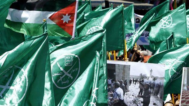 Banderas e Palestina y la Hermandad Musulmana