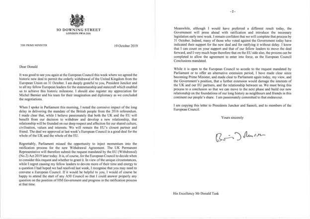 johnson'ın imzalı mektubu