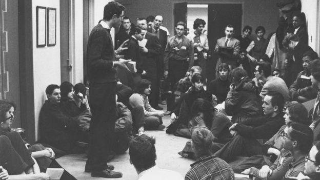 Bernie Sanders speaks at a Committee on Racial Equality Sit-In in 1962