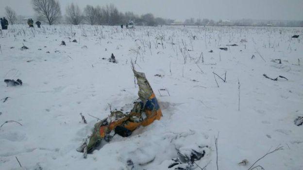 Restos del accidente del avión de la aerolínea Saratov.