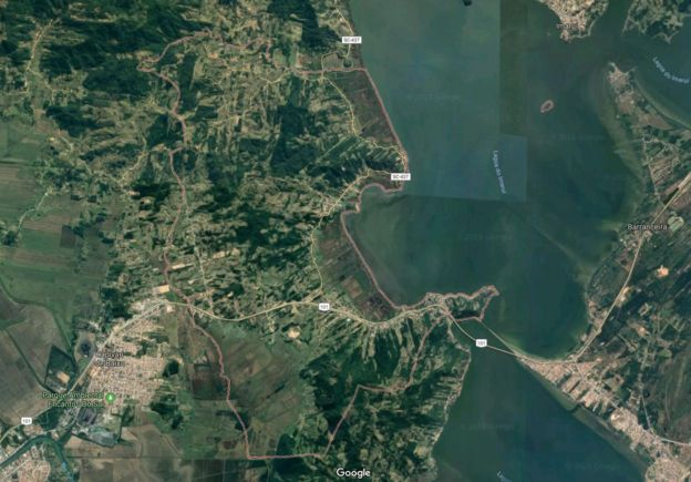 Mapa de satélite mostra contorno de Pescaria Brava