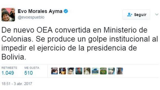 Tuit de Evo Morales que dice: