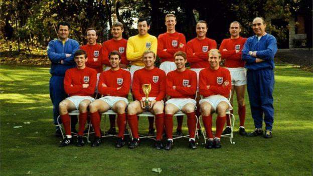 699f04a69 The England Team pose with the Jules Rimet Trophy after winning the World  Cup against West