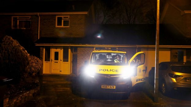 Police outside a house in Salisbury that is believed to be the home of Sergei Skripal