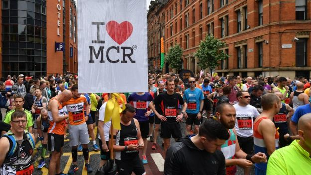 Runners gather at the start of the Great Manchester Run