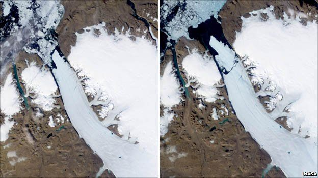 Satellite images of ice island, which broke off the Petermann Glacier in Greenland (Image: NASA)