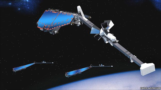 Artist's rendering of a Swarm satellite (EADS Astrium)