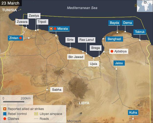 air strikes map 23 March