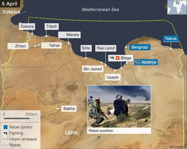 Libya air strikes map 5 April