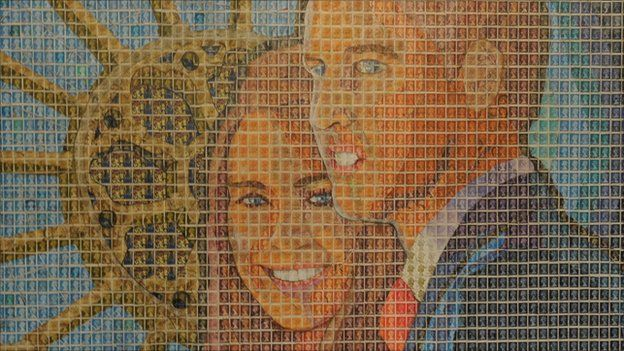 Portrait of Prince William and Kate Middleton made out of 3000 used postage stamps